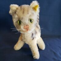 "Vintage Steiff Mohair ""Lizzy"" TABBY Cat, Button ID, Stocktag Remn, GRUMPY C 1975"