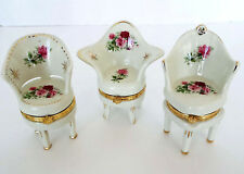 3 MINIATURE CHAIR Trinket Boxes Porcelain Hinged QUEEN ANNE Victorian Floral LOT