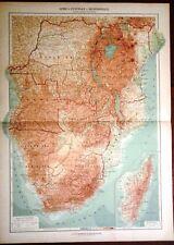 Carta geografica antica AFRICA CENTRO SUD De Agostini 1927 Antique map