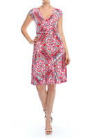 NEW Janette Floral Print  Knee Length Wrap Maxi Dress - Red and Blue