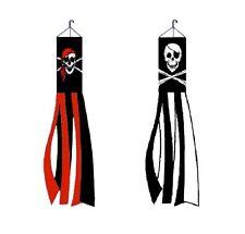 2 Pk Pirate 5 Ft Windsocks Jolly Roger Red Bandana & Black White Skeleton Flag