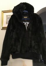 "VICTORIAS SECRET ""PINK""-Black Faux Fur Hooded Short Jacket. Size- L. NWOT. $295"
