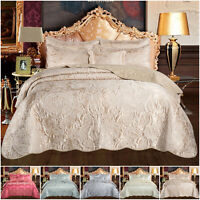 Luxury 3 Piece Quilted Bedspread Throw Comforter Bedding Set Double King Size