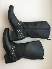 Women's Black Leather Biker Boots 7.5 Real Leather Upper Great Condition!