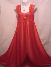 SEXY RED NIGHTGOWN,CHEMISE,SLEEPWEAR,WIDE STRAP & LACE BODICE- MEDIUM---#401