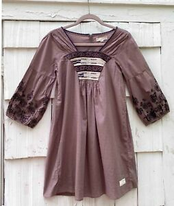 ODD MOLLY BOHO LAGENLOOK TAUPE EMBROIDERED TUNIC SIZE 1 SMALL