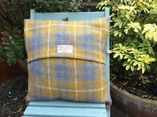 """HARRIS TWEED CUSHION COVER 16"""" X 16"""" MUSTARD YELLOW AND BLUE CHECK"""