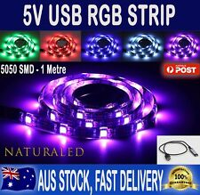 1M 5V RGB LED STRIP LIGHT COLOUR CHANGE USB KIT BACKGROUND LIGHTING TV PC LAPTOP