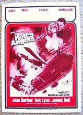 JEAN HARLOW mini HELL'S ANGELS Vintage COLLEGE Poster BEN LYON War