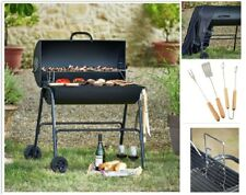 Oil Drum Barrel BBQ Steel Barbecue Charcoal Barbeque Grill Trolley Cover Utensil
