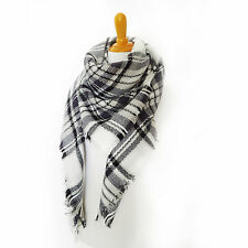 Plaid Blanket Scarf Tartan Plaid Scarf White and Black Checkered Blanket Scarf