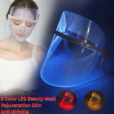 Photon LED Light Face Mask Neck 3 Color Rejuvenation Skin Therapy Wrinkle Remove
