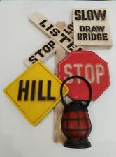 VINTAGE 1970S BURWOOD PRODUCTS CO RAILROAD CROSSING STOP SLOW SIGN WALL DECOR
