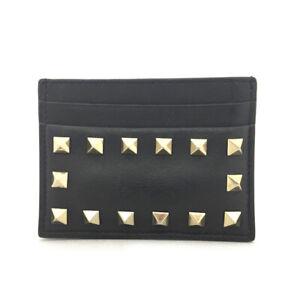 VALENTINO Garavani Black Leather Card Case /61316