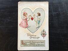 VINTAGE EMBOSSED VALENTINE'S POSTCARD LITTLE BOY very GIRL IN HEART 1912