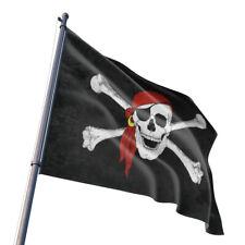 3x5' Feet Jolly Roger Pirate Bandana Red Hat Skull Crossbones Flag Indoor Banner