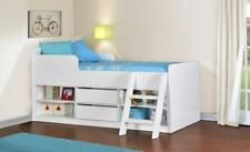 Kids 3ft Single Cabin Bed White Wood Bed Frame Children Bunk, Mid Sleeper