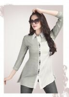 Women Fashion Indian Short White/Grey Rayon Kurti Tunic Kurta Top Shirt Dress
