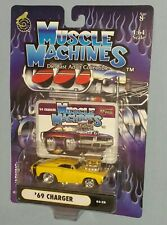 Free Ship '69 1969 Blown Yellow Dodge Charger R/T Funline Muscle Machines ~1:64