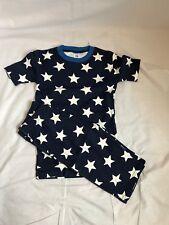 (BK2) Mini Boden boy's navy star print cotton short pyjama set size 10 Years