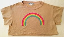 NWT Wildfox Couture Cropped Rainbow Graphic Fleece Sweater Tee Tan S