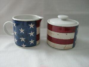 Warren Kimble 1997 COLONIAL American Flag Creamer & Sugar Bowl Set by Sakura