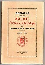 BRETAGNE ANNALES SOCIETE HISTOIRE SAINT-MALO 1964 LINGUISTIQUE ORIGINE DU BRETON