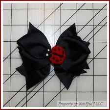 BonEful RTS NEW Girl Boutique Hair*Bow B&W Black Red Lady*Bug Dot China Adoption