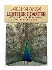 Rainbow Feathers Peacock Single Leather Photo Coaster Animal Breed Gi, AB-PE13SC