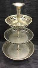 "Rare Atq 21"" 3 Tier Silverplate Tray Wedding Reticulated Flower Vase at Top"
