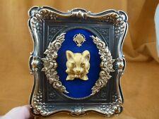 CFL52-20) FRAMED CAMEO Cat head Victorian brass desk shelf wall art love cats