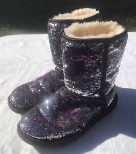 Ugg Australia Classic Short Purple, Silver Sequin Size 7 Boots Sherpa Lined Warm