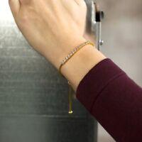 5Ct Round Cut Diamond Tennis Adjustable Bolo Bracelet 14K Yellow Gold Finish