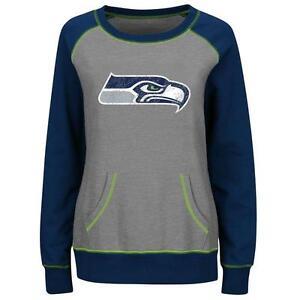 Seattle Seahawks sweatshirt Majestic women OT Queen crew neck no hoodie NWT