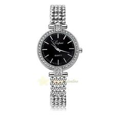 Lvpai Women Stainless Steel Bracelet Strap Bling Crystal Quartz Watch WristWatch