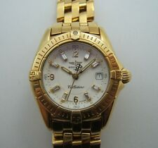 BREITLING CALLISTINO POUR DAME EN OR 18K CADRAN INDEX DIAMANTS BAGUETTES C89P2