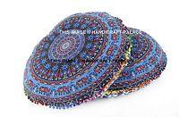 "2 PC Elephant Mandala Indian Floor Pillow Cover Ottoman Round Pet Bed Cotton 32"""