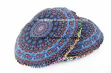 2 PC Elephant Mandala Indian Floor Pillow Cover Ottoman Round Pet Bed Cotton 32""