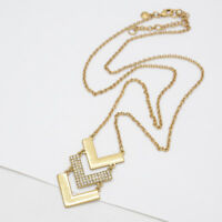 JCREW JEWELRY MATTE GOLD PLATED CUT CRYSTALS LAYERED PENDANT LONG NECKLACE CHAIN