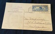Vintage Postcard Charles Linbergh Farewell Air Mail Flight February 1928 w Stamp