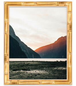 14x14 Gold Bamboo Wood Picture Frame - With Acrylic Front and Foam Board Backing