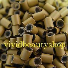 500 4mm Light Brown Copper Silicone Tube Micro Ring for I Bonded Hair Extensions