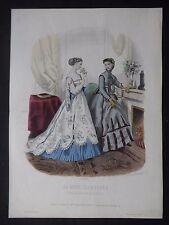 GRAVURE MODE 19e - MODE ILLUSTRÉE - TOILETTES MME BREANT  1866  - GRAND FORMAT