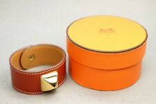 Authentic HERMES Medor Bangle Bracelet Red Leathe