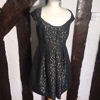 Pepperberry Black And Gold Polka Dot Skater Dress Size 10RC Uk