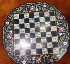 """24"""" marble chess game Table Top pietra dura multi stones inlay art  work"""