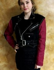XTREM Motorcycle Suede Black/burgundy Nylon XS S Moto Zip Up Women's Jacket