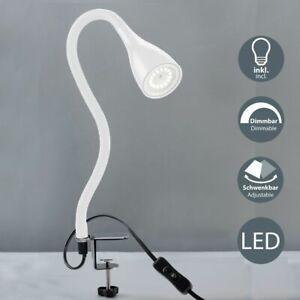 Lampe de table lecture LED GU10 luminaire de chevet à pince blanche dimmable