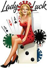 Lady Luck Old School Gambling  Babe Vegas Vinyl Sticker Decal Rare OOP by Burch