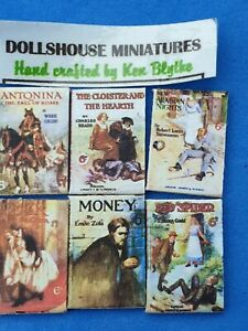 1/12 scale Book ,6 x Chatto & Windus 6d Victorian novels,Crafted by Ken Blythe